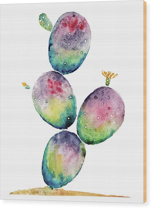 Rainbow Paddle Cactus by Jessica Contreras - Wood Print from Wallasso - The Wall Art Superstore