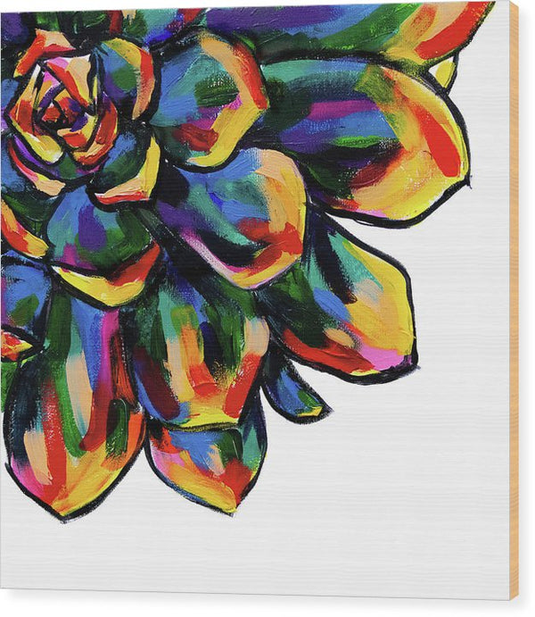 Rainbow Succulent By Jessica Contreras - Wood Print from Wallasso - The Wall Art Superstore