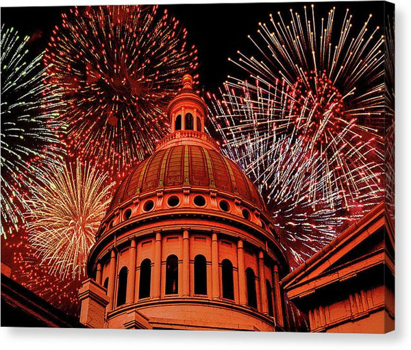 Red Fireworks Over Capitol Building - Canvas Print from Wallasso - The Wall Art Superstore