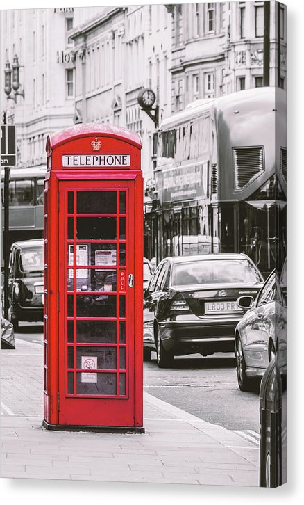 Red London Phone Booth - Canvas Print from Wallasso - The Wall Art Superstore