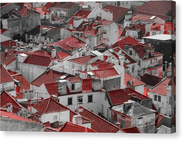 Red Rooftops In Alfama District of Lisbon - Canvas Print from Wallasso - The Wall Art Superstore