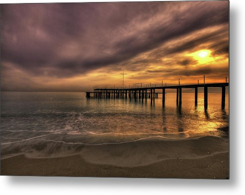 Remains of Old Pier As The Sun Goes Down - Metal Print from Wallasso - The Wall Art Superstore