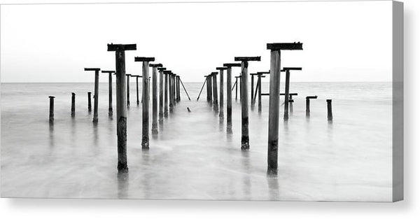 Remnants Of An Old Pier, Panoramic - Canvas Print from Wallasso - The Wall Art Superstore