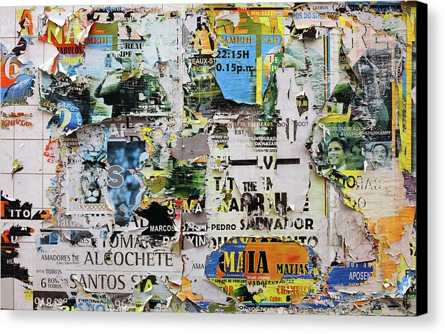 Remnants of Paper Posters On Wall - Canvas Print from Wallasso - The Wall Art Superstore