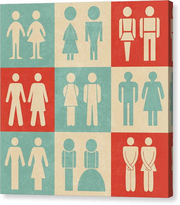 Retro Bathroom Icons - Canvas Print from Wallasso - The Wall Art Superstore