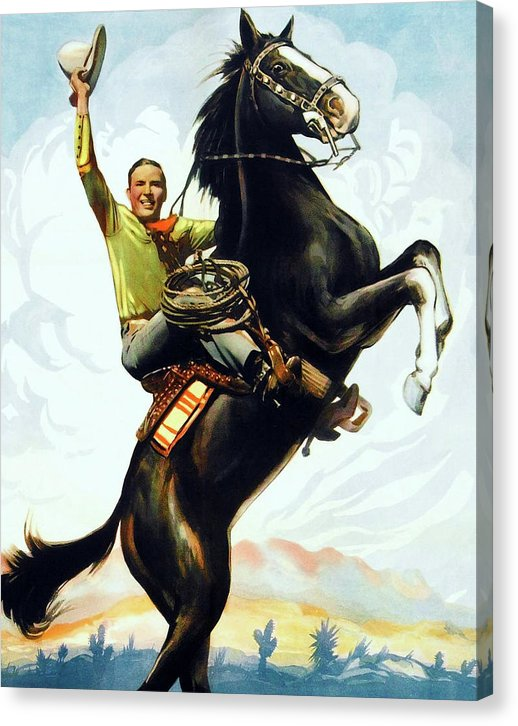Retro Cowboy Rearing On Horse - Canvas Print from Wallasso - The Wall Art Superstore