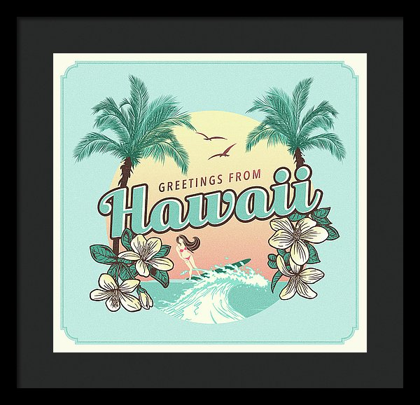 Retro Greetings From Hawaii Design - Framed Print from Wallasso - The Wall Art Superstore