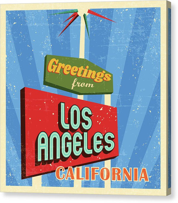Retro Greetings From Los Angeles California Sign - Canvas Print from Wallasso - The Wall Art Superstore
