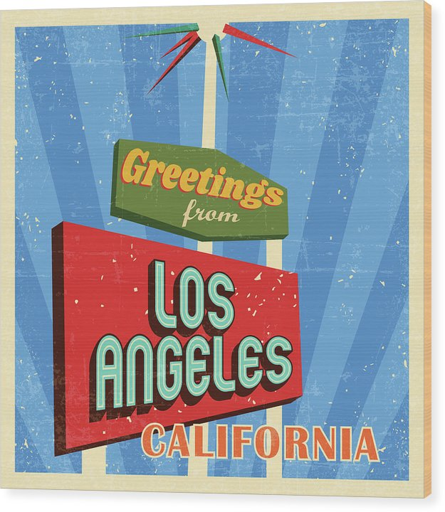 Retro Greetings From Los Angeles California Sign - Wood Print from Wallasso - The Wall Art Superstore