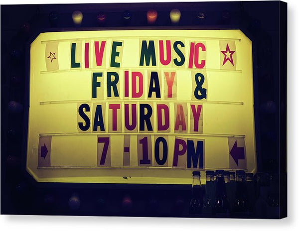 Retro Lighted Live Music Sign - Canvas Print from Wallasso - The Wall Art Superstore