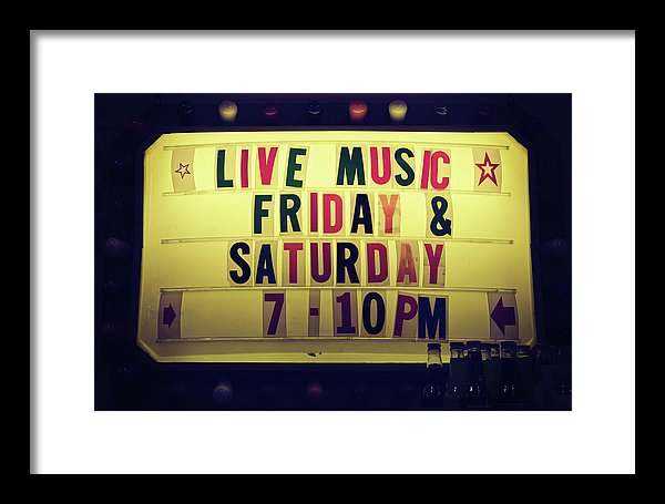Retro Lighted Live Music Sign - Framed Print from Wallasso - The Wall Art Superstore