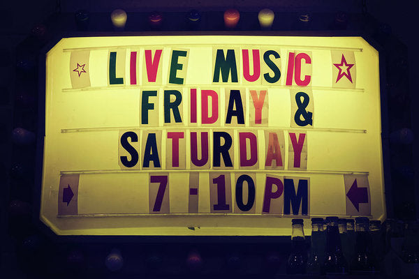 Retro Lighted Live Music Sign - Art Print from Wallasso - The Wall Art Superstore