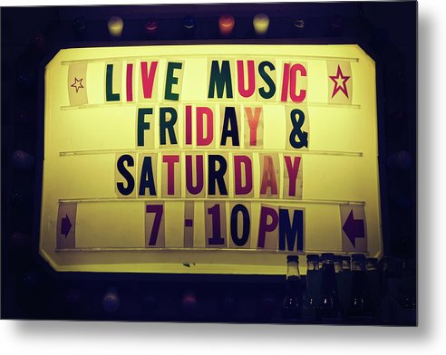 Retro Lighted Live Music Sign - Metal Print from Wallasso - The Wall Art Superstore