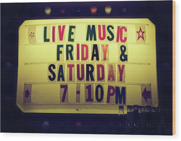 Retro Lighted Live Music Sign - Wood Print from Wallasso - The Wall Art Superstore