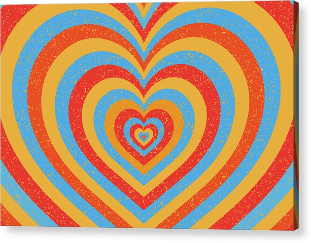 Retro Multicolored Hearts - Acrylic Print from Wallasso - The Wall Art Superstore