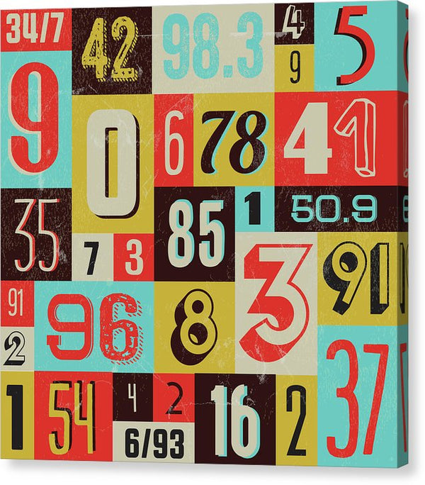 Retro Numbers Collection - Canvas Print from Wallasso - The Wall Art Superstore