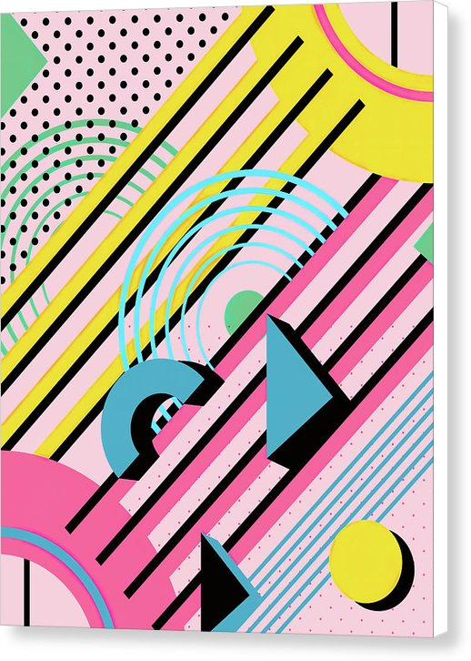 Retro Pink Memphis Design - Canvas Print from Wallasso - The Wall Art Superstore