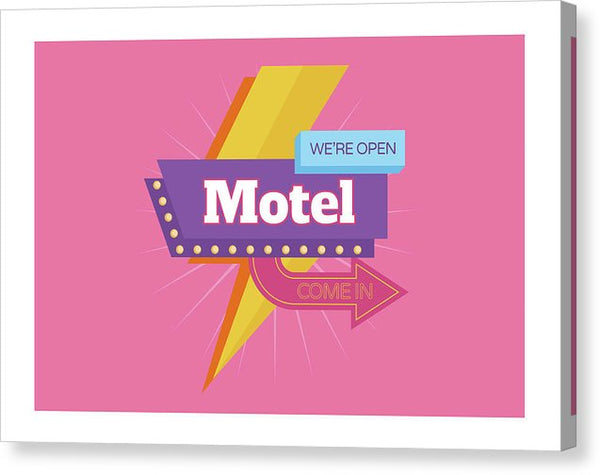 Retro Pink Motel Sign - Canvas Print from Wallasso - The Wall Art Superstore