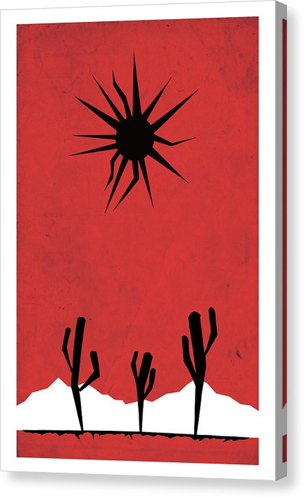 Retro Poster of Minimalist Desert Scene With Black Sun - Canvas Print from Wallasso - The Wall Art Superstore