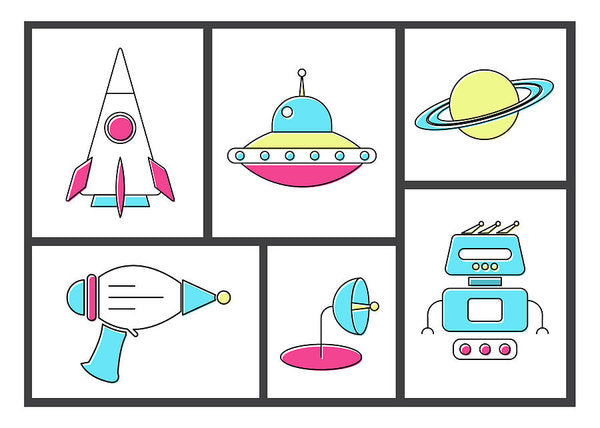 Retro Space Doodles For Kids - Art Print from Wallasso - The Wall Art Superstore