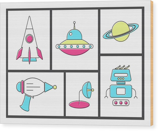 Retro Space Doodles For Kids - Wood Print from Wallasso - The Wall Art Superstore