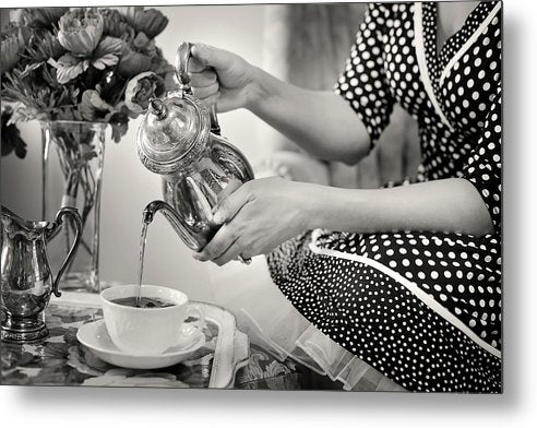 Retro Tea Pour - Metal Print from Wallasso - The Wall Art Superstore