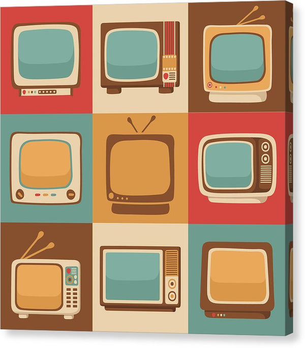 Retro Television Sets - Canvas Print from Wallasso - The Wall Art Superstore