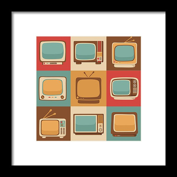 Retro Television Sets - Framed Print from Wallasso - The Wall Art Superstore