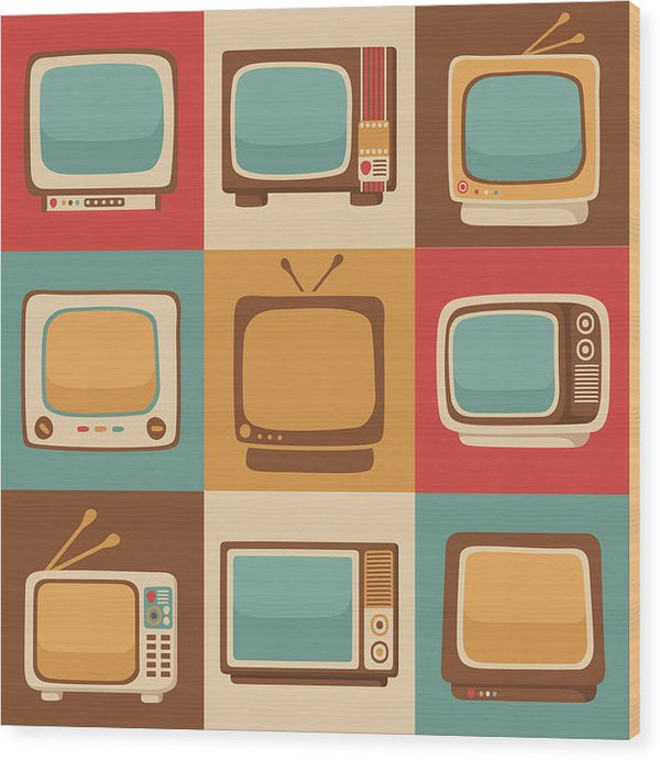 Retro Television Sets - Wood Print from Wallasso - The Wall Art Superstore