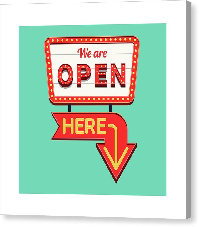 Retro We Are Open Sign - Canvas Print from Wallasso - The Wall Art Superstore