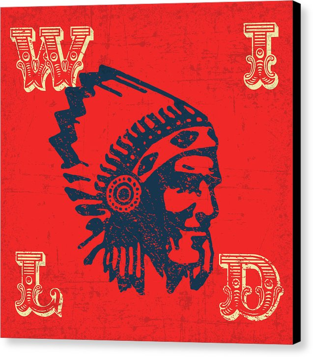 Retro Wild West Indian Chief Design, 1 of 2 Set - Canvas Print from Wallasso - The Wall Art Superstore