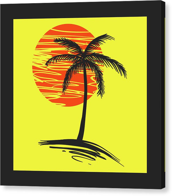 Retro Yellow and Black Palm Tree - Canvas Print from Wallasso - The Wall Art Superstore