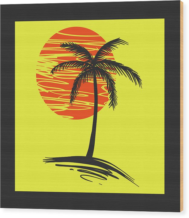Retro Yellow and Black Palm Tree - Wood Print from Wallasso - The Wall Art Superstore