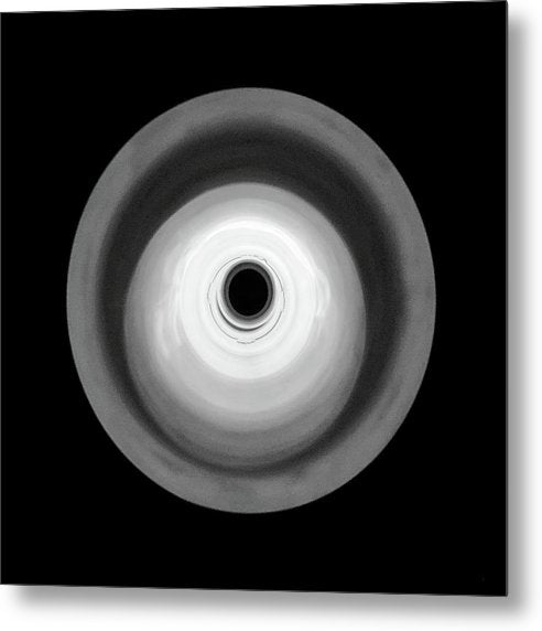 Round Abstract Black and White Design - Metal Print from Wallasso - The Wall Art Superstore