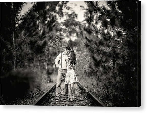 Romantic Couple On Train Tracks - Canvas Print from Wallasso - The Wall Art Superstore