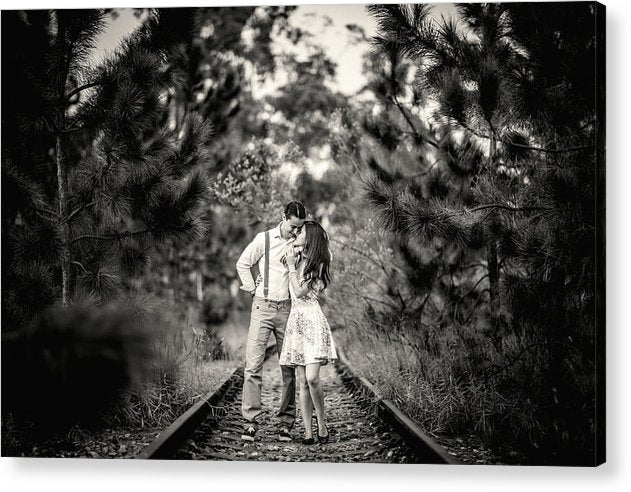 Romantic Couple On Train Tracks - Acrylic Print from Wallasso - The Wall Art Superstore