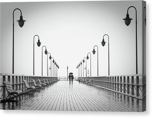 Romantic Couple Walking On Pier - Canvas Print from Wallasso - The Wall Art Superstore