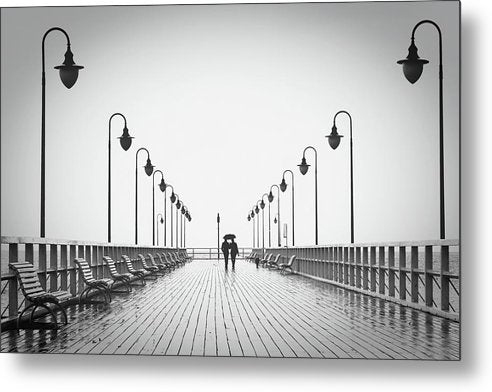 Romantic Couple Walking On Pier - Metal Print from Wallasso - The Wall Art Superstore