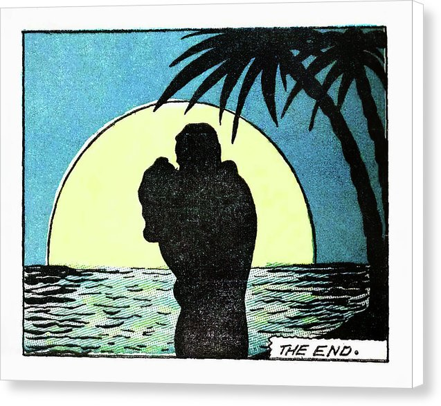 Romantic Moonlit Beach, Vintage Comic Book - Canvas Print from Wallasso - The Wall Art Superstore