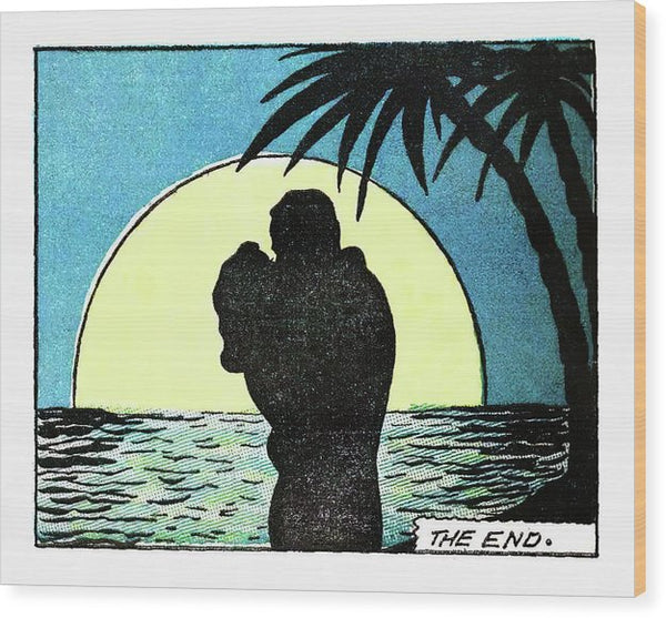 Romantic Moonlit Beach, Vintage Comic Book - Wood Print from Wallasso - The Wall Art Superstore