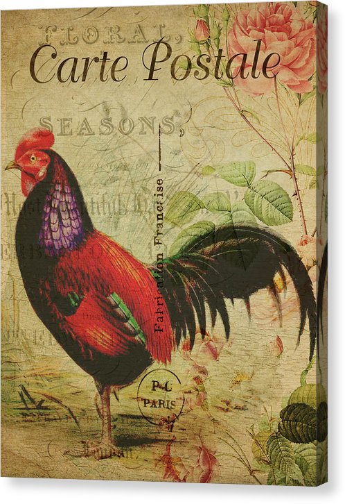 Rooster Decoupage Design - Canvas Print from Wallasso - The Wall Art Superstore