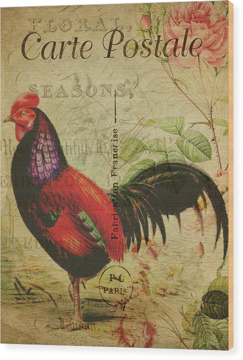 Rooster Decoupage Design - Wood Print from Wallasso - The Wall Art Superstore