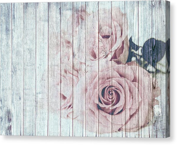 Rose On Wood Decoupage Design - Canvas Print from Wallasso - The Wall Art Superstore