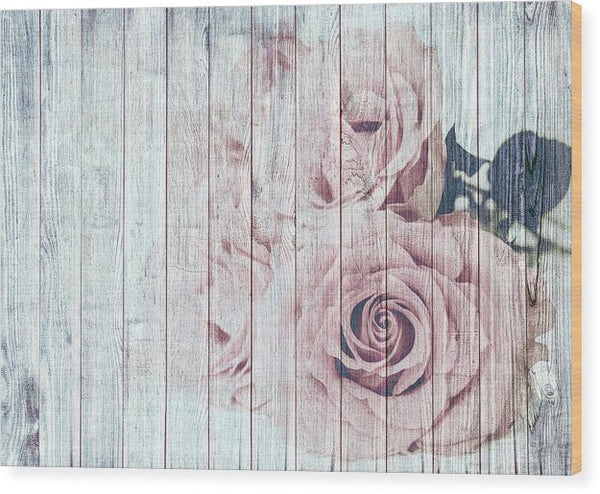Rose On Wood Decoupage Design - Wood Print from Wallasso - The Wall Art Superstore