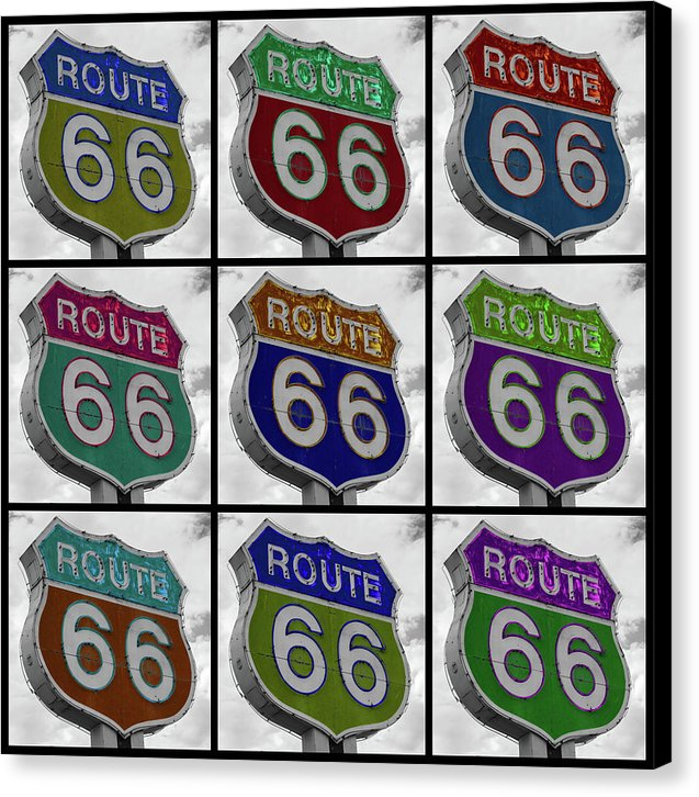 Route 66 Pop Art Sign Collage - Canvas Print from Wallasso - The Wall Art Superstore