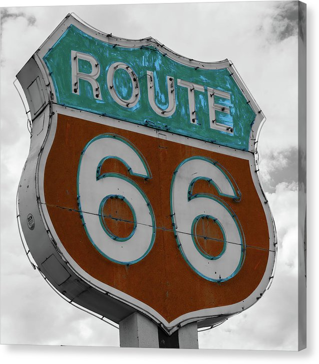 Route 66 Pop Art Sign - Canvas Print from Wallasso - The Wall Art Superstore
