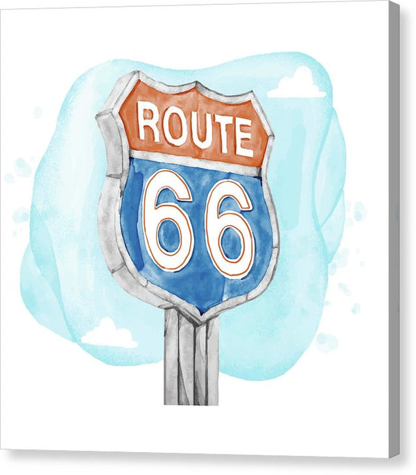 Route 66 Sign Watercolor Painting - Canvas Print from Wallasso - The Wall Art Superstore