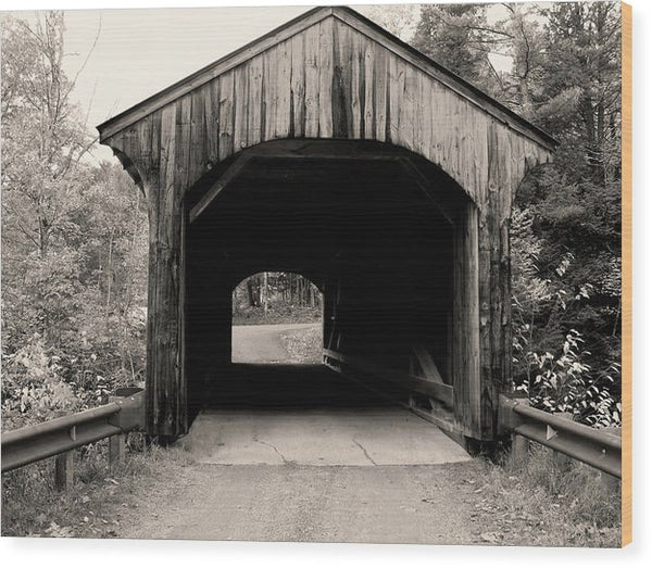 Rural Covered Bridge In Sepia - Wood Print from Wallasso - The Wall Art Superstore