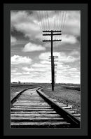 Rural Train Tracks and Telephone Pole - Framed Print from Wallasso - The Wall Art Superstore
