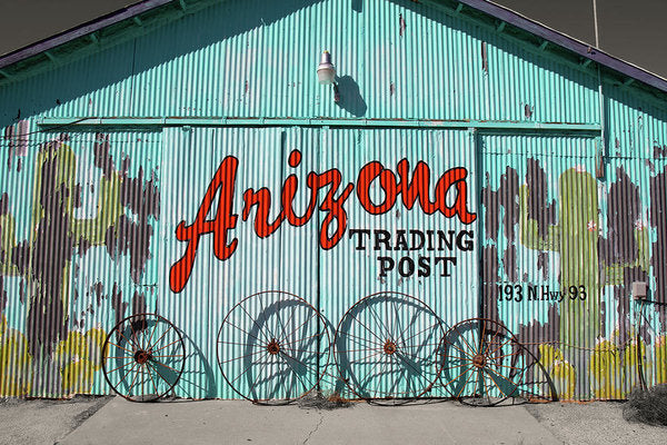 Rustic Arizona Trading Post Sign, Blue and Red - Art Print from Wallasso - The Wall Art Superstore